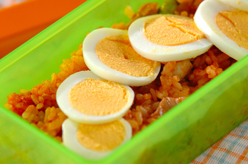 鶏と枝豆のケチャップライス