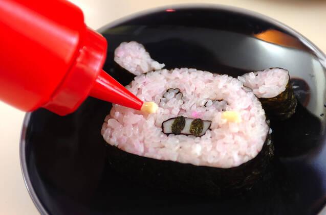 ぶたちゃんデコ巻き寿司の作り方の手順8