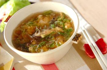 ゴマ油香る!卵とシイタケの春雨スープ