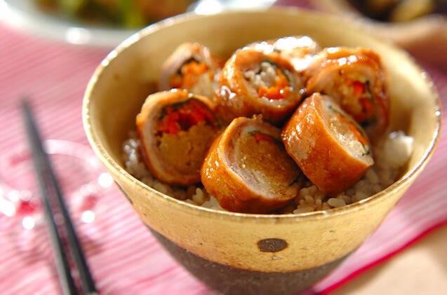 豚肉ロールの照り焼き丼