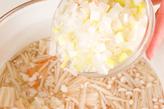 白ネギとエノキのスープの作り方2