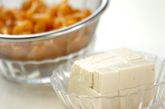 ナメコと豆腐のみそ汁の下準備1