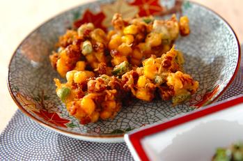 納豆とコーンの揚げ物