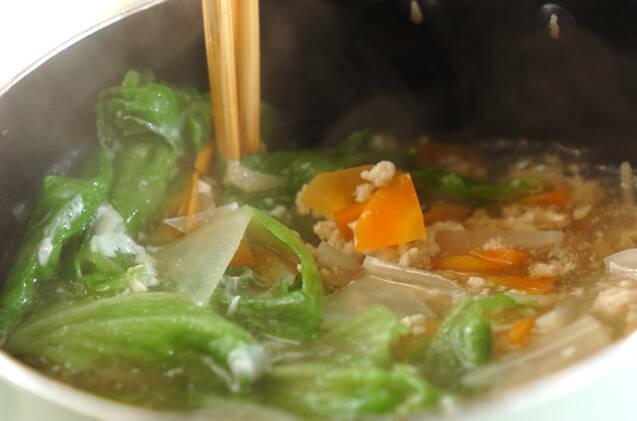 鶏ひき肉の卵白スープの作り方の手順5