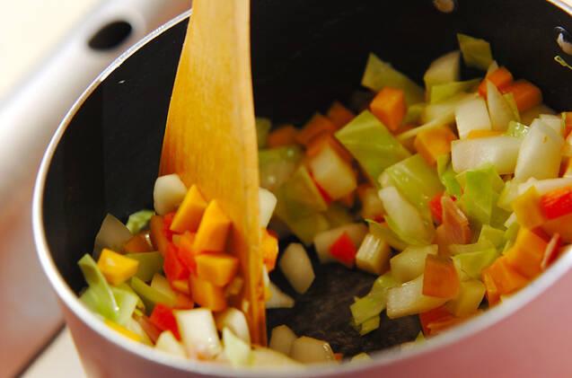 具だくさんのトマトスープの作り方の手順5