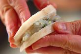 レンコンのエビはさみ揚げの作り方2