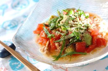 アボカドとトマトの素麺