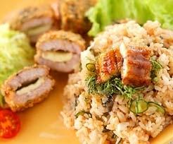 豚肉のチーズフライ ウナギの混ぜご飯