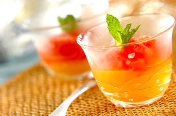グレープフルーツとオレンジのゼリー