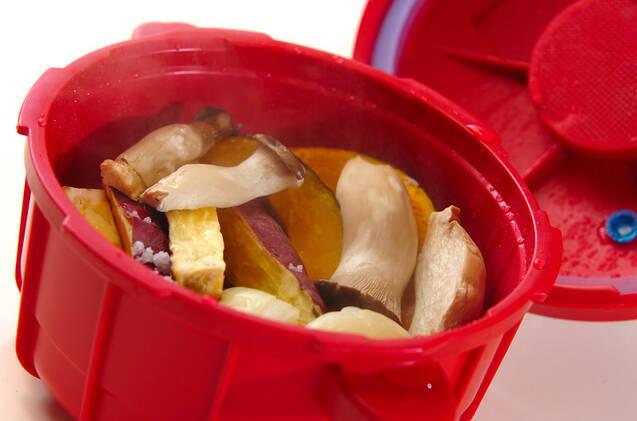 レンジ圧力鍋でタイ風おこわと蒸し野菜の作り方の手順8