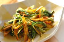 ゴボウと水菜のカレー炒め