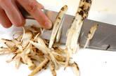 ゴボウと水菜のカレー炒めの下準備1