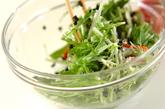 水菜とカニカマのサラダの作り方2