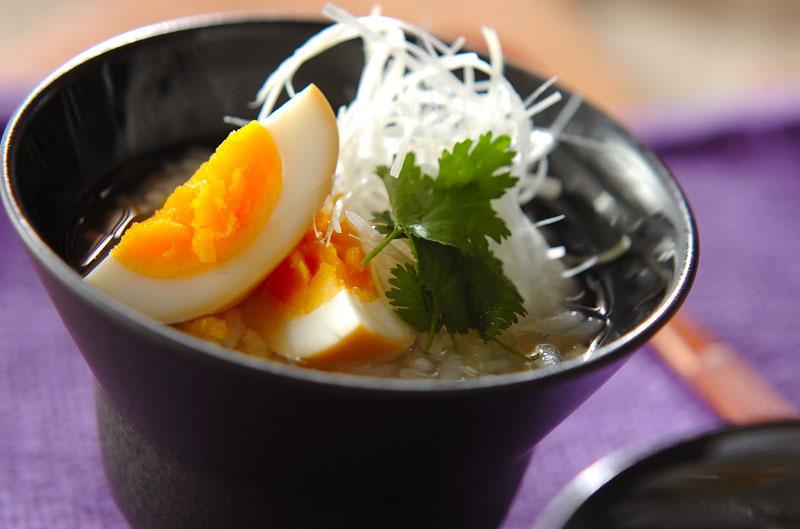 半熟煮卵の中華粥のレシピ
