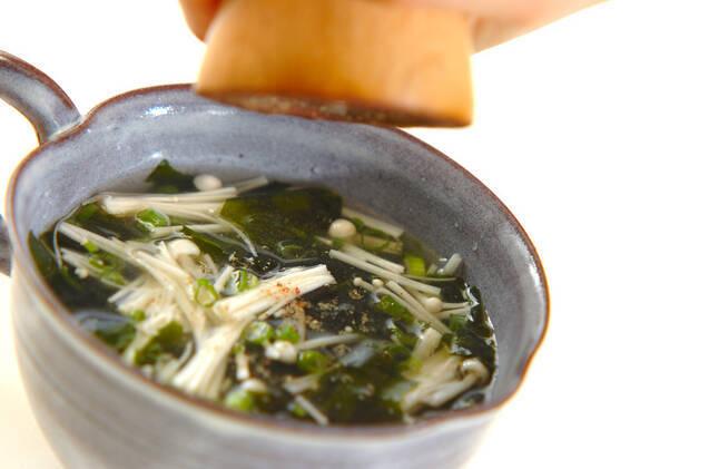 ワカメとエノキのスープの作り方の手順4