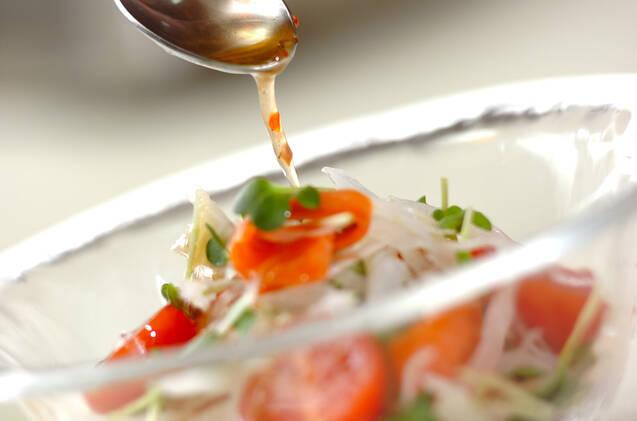 新玉ネギとスモークサーモンのサラダの作り方の手順6