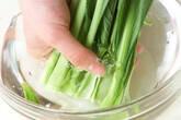 小松菜のみそ汁の下準備1
