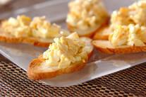 卵とホタテの和風カナッペ