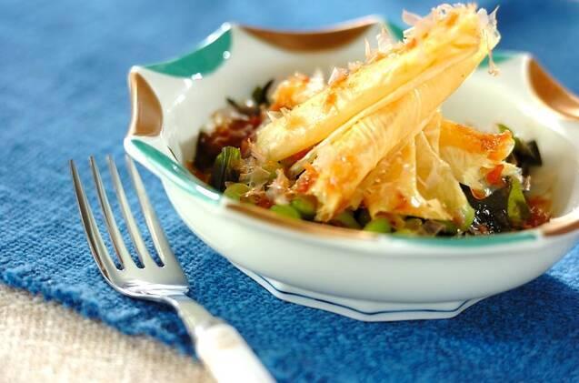 枝豆と湯葉の梅ダレサラダ