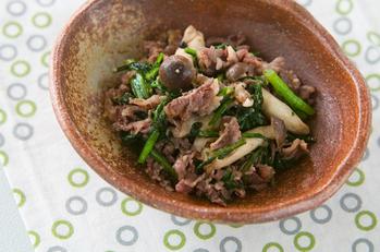 菊菜と牛肉のゴマ炒め