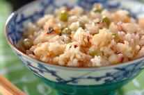 タコとエンドウ豆のご飯