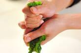 菜の花とゴボウ天のサッと煮の下準備1