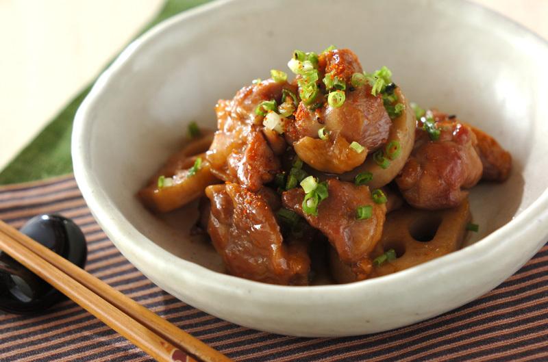 2.鶏とレンコンの甘辛炒め