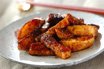 ゆで豚とジャガイモの中華炒め
