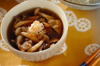 豚肉とシメジのつけ素麺、スダチの香り