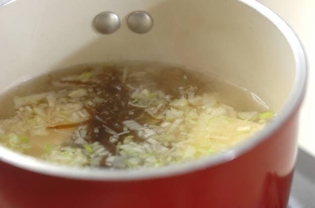 もずくと豆腐のショウガ風味スープの作り方の手順2