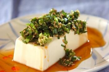 ニラダレがけ温豆腐