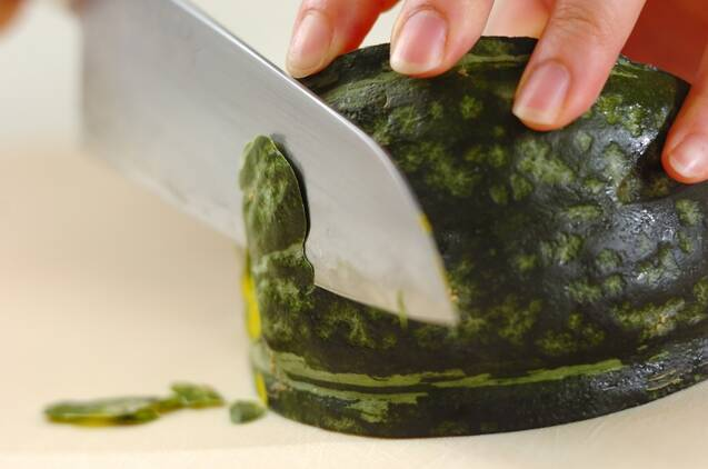 レンジカボチャのサラダの作り方の手順1
