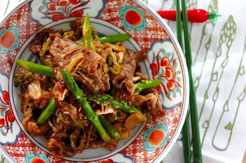 グリーンアスパラと牛肉の炒め物