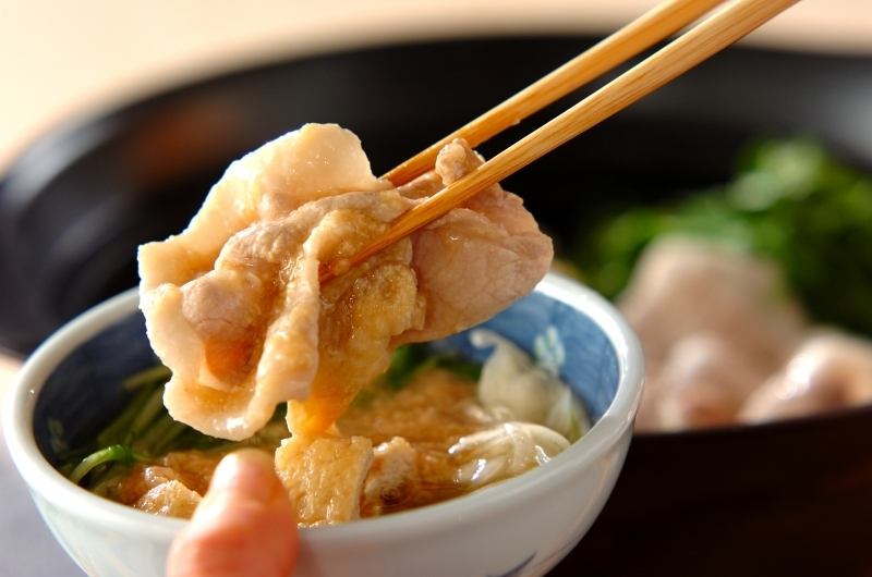 5 豚肉と水菜のトロロポン酢鍋