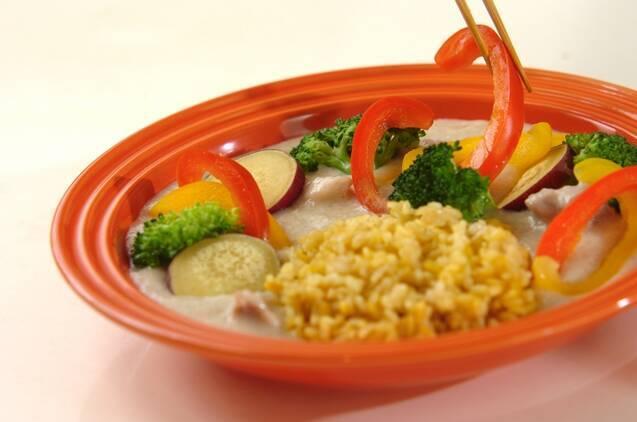 長芋と豆乳のシチュー 玄米ターメリックピラフ添えの献立の作り方の手順8