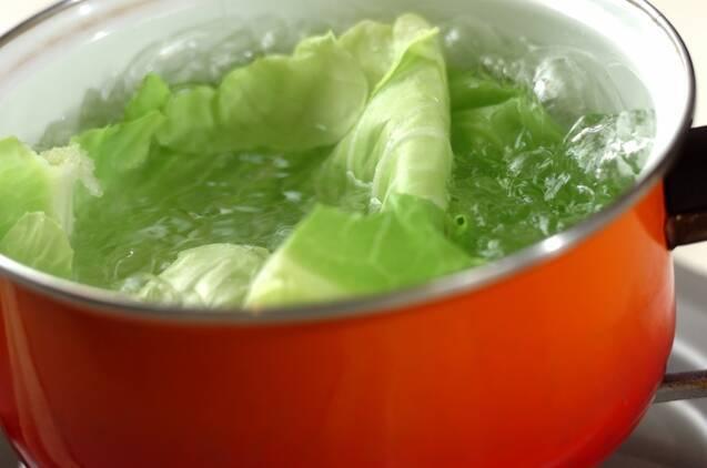 キャベツとスナップエンドウの中華サラダの作り方の手順2