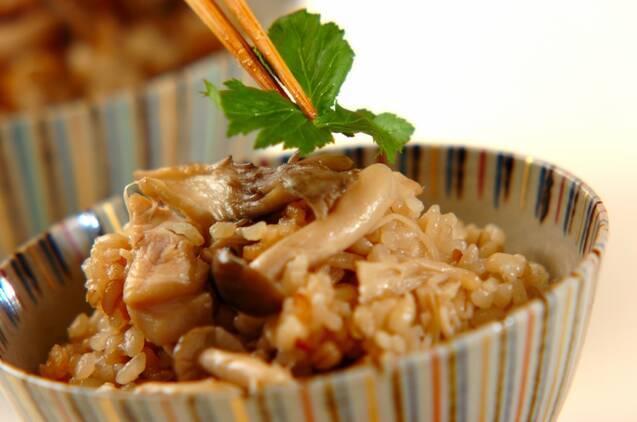 もち麦入りキノコの炊き込みご飯の作り方の手順5