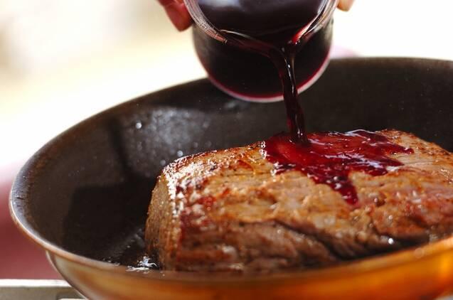 赤ワインキノコのローストビーフ丼の作り方の手順2