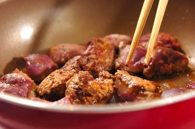 豆板醤で和える鶏レバニラ炒めの作り方の手順3