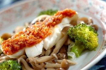 白身魚と野菜の練りみそ添え