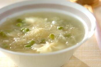 グリンピースのスープ・マカロニ