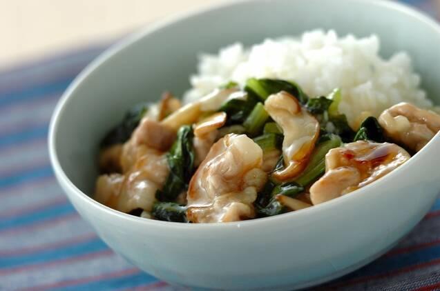 小松菜とホタテの中華風あんかけご飯