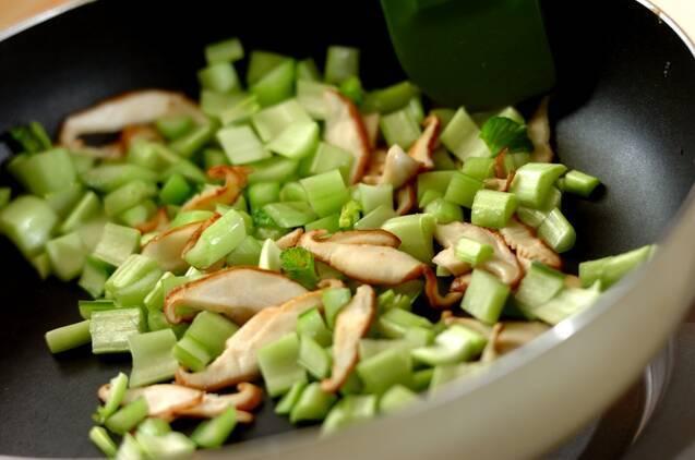小松菜とホタテの中華風あんかけご飯の作り方の手順4