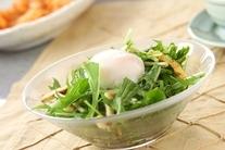 水菜サラダ・温泉卵のせ