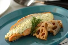 鮭のチーズソースはさみ焼き