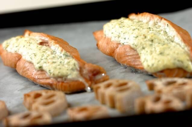 鮭のチーズソースはさみ焼きの作り方の手順5