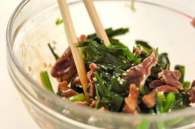 砂肝とニラのオイスターソース和えの作り方の手順3