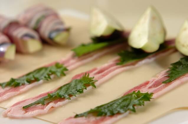 甘辛!トロっとナスと大葉の豚肉巻きの作り方の手順4