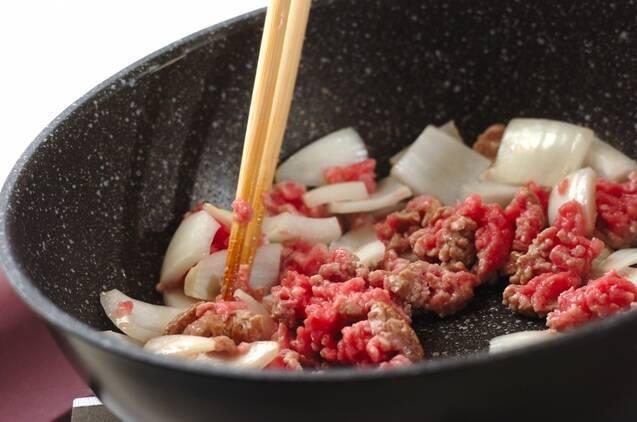 豚ひき肉と豆腐のチリソース、卵あえの作り方の手順2