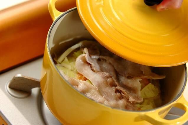 豚肉とキャベツの重ね蒸しの作り方の手順4